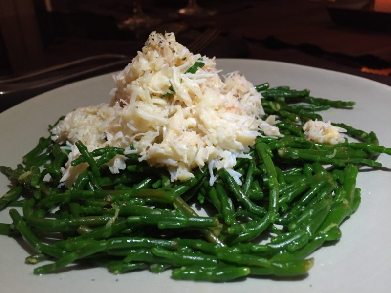 Crab and samphire starter