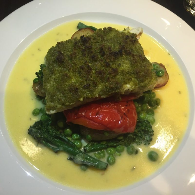 Pesto crusted halibut at Grosvenor Casino, Broad Street, Birmingham