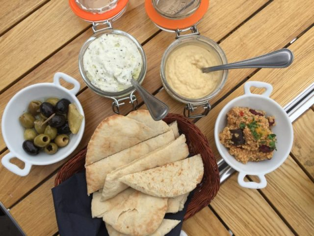 Pitta, houmous & tzatziki at The Boathouse, Upton-upon-Severn