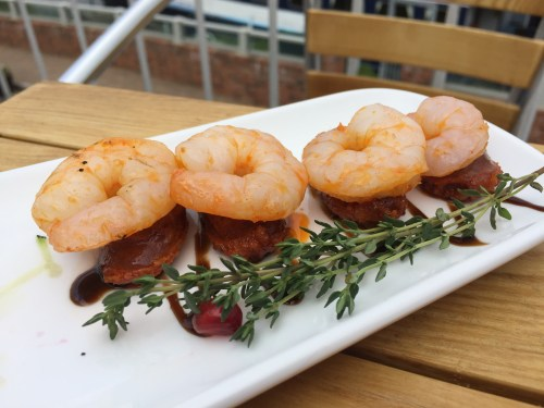 Prawns and chorizo at The Boathouse, Upton-upon-Severn