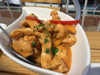 Chicken flambe in vodka at The Boathouse, Upton