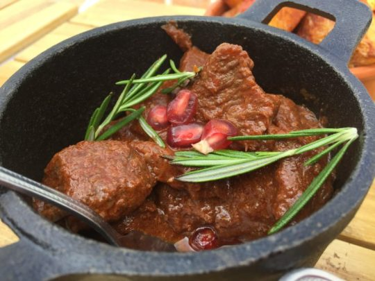 Beef and pomegranate tagine at The Boathouse, Upton