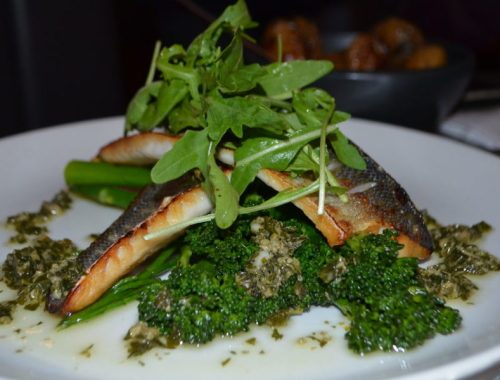 Pan-fried sea bass at The Almanack, Kenilworth