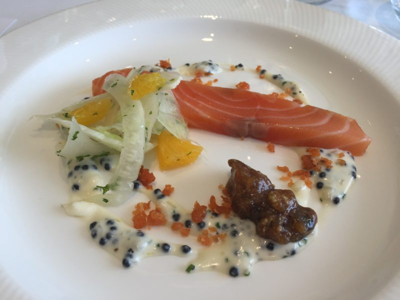 Cured and smoked salmon at Goodwood Racecourse