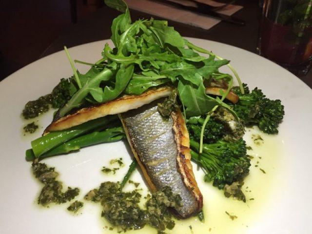Pan-fried sea bass at The Almanack, Kenilworth
