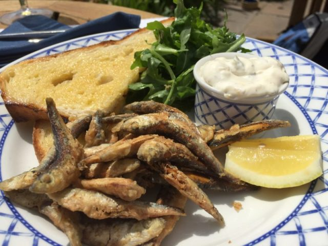Deep fried whitebait at The Nare Hotel, Roseland, Cornwall
