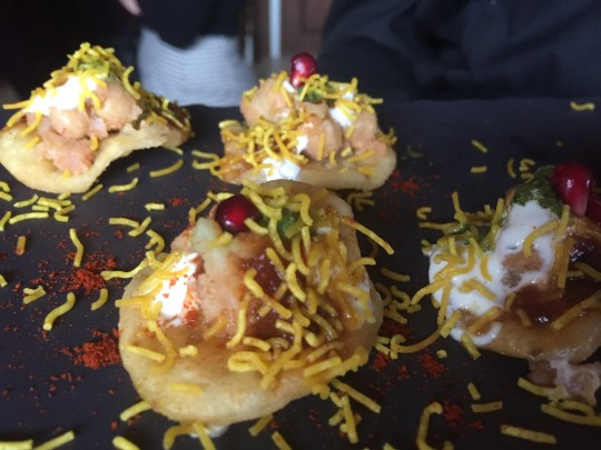 Pastry and gram sev canape at Itihaas, Birmingham