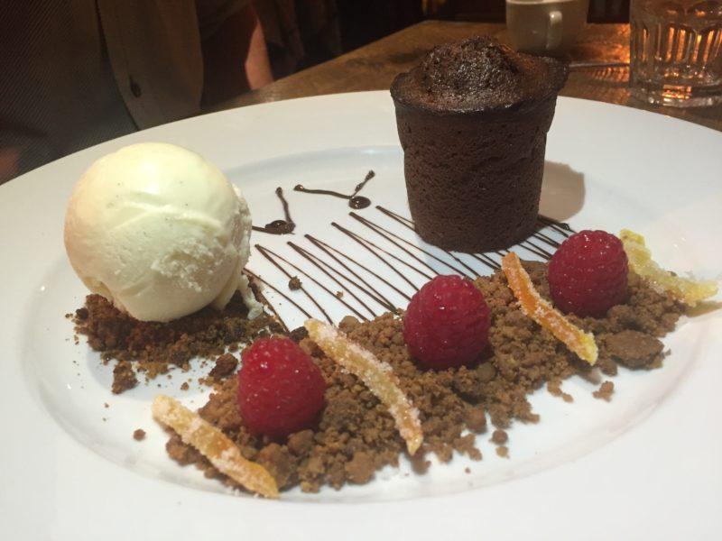 Chocolate fondant at the Hollybush Inn, Priors Marston