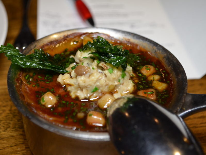 Potato and cep gratin at the Mushroom Dinner at The Cross, Kenilworth
