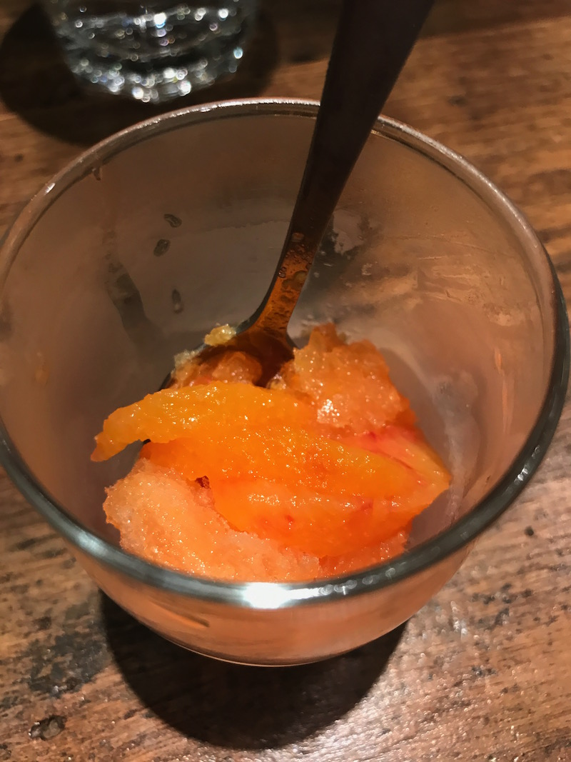 blood orange and pernod granita at The Tuning Fork, Houlton, Rugby