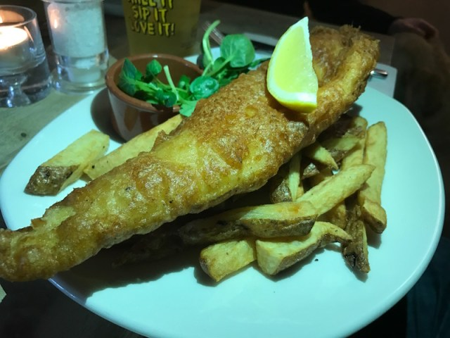 Fish and chips at The Peacock, Oxhill