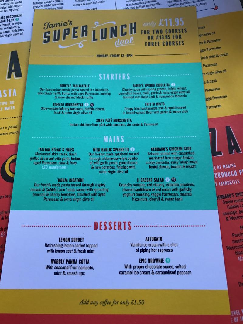 Super lunch menu at Jamies Italian, Birmingham