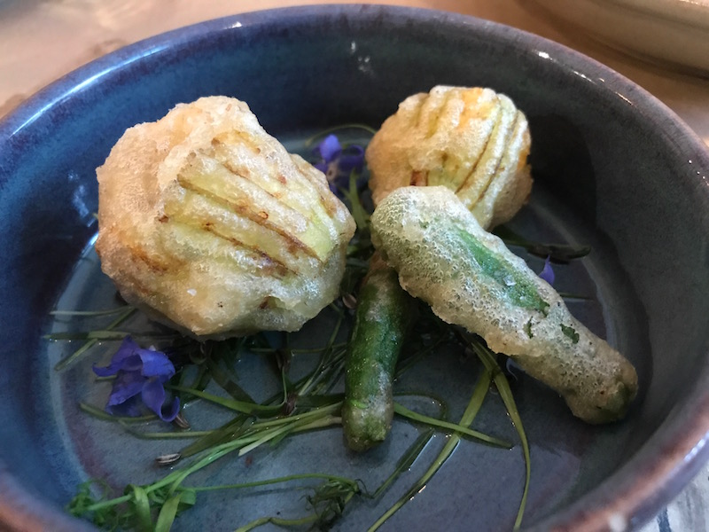 Courgette flowers at Prawn on the Lawn, Padstow