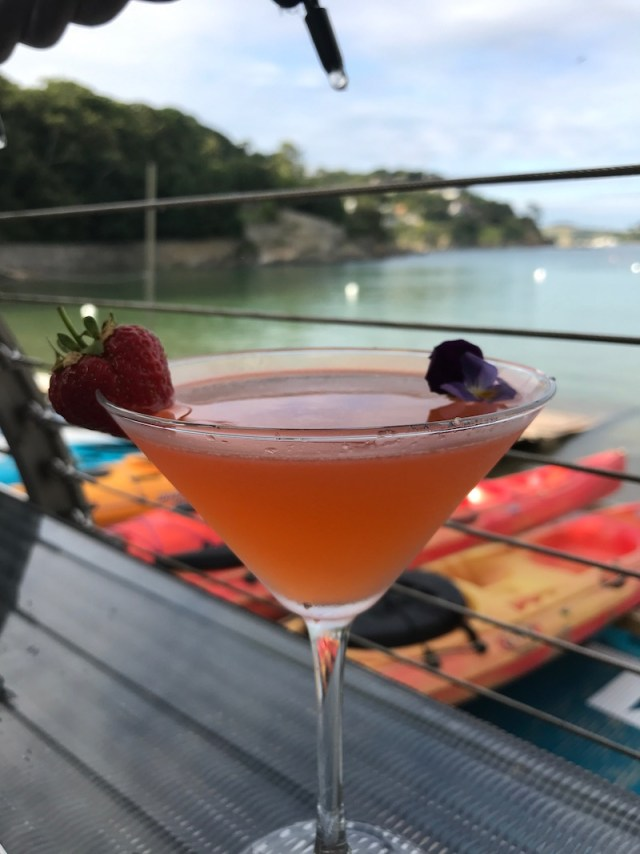 Cocktails on the terrace at the South Sands Hotel, Salcombe
