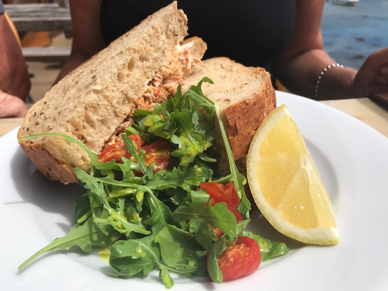 Crab sandwich at The Crab Shed, Salcombe