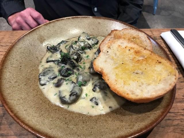 Garlic mushroom starter at The Tuning Fork, Houlton