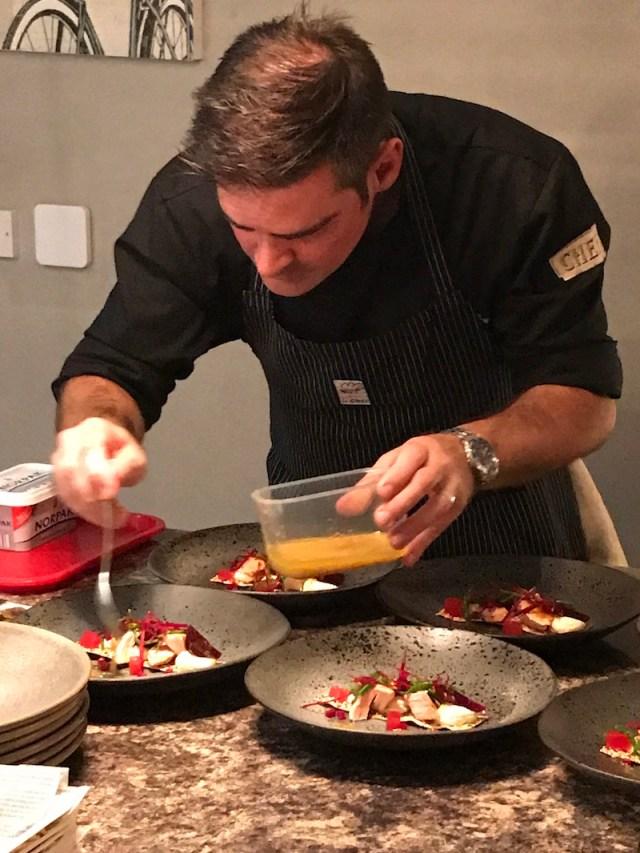 Stuart Brown plating up starters with La Belle Assiette