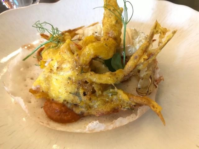 Softshell crab starter at Opheem, Birmingham