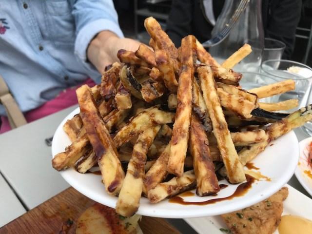 Aubergine fries at Gambas, Bristol