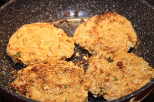 Frying the Salmon Burgers