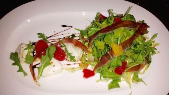 House cured duck prosciutto, blood orange and buffalo mozzarella and arugula salad
