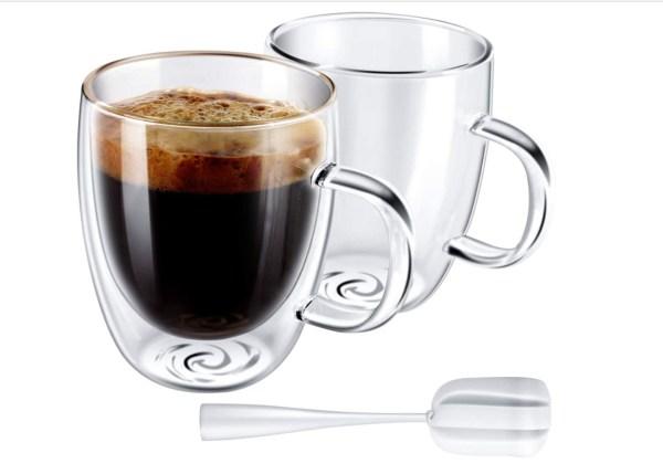 Double wall glass mugs