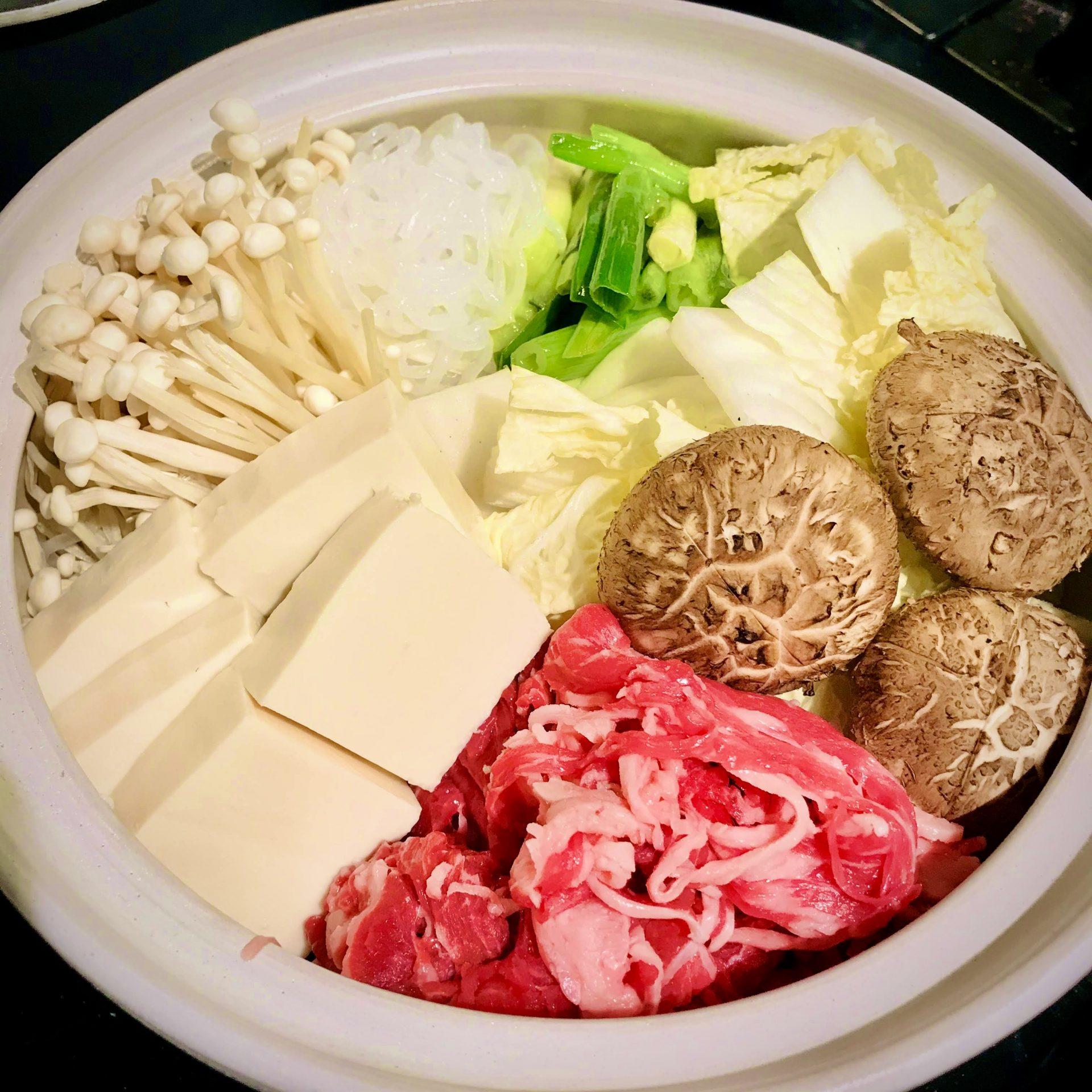 Sukiyaki before cook raw