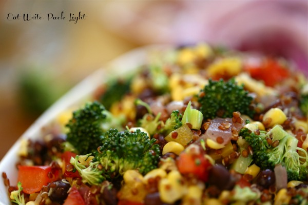 broccoli red quinoa salad closeup