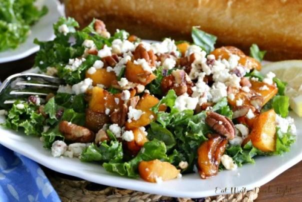 Kale Salad Carmalized Peaches