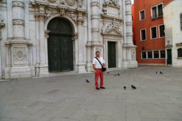 Venice morning with pigeons