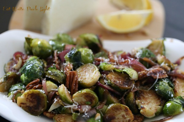 Brussels Sprouts caramelized with onions and pecans