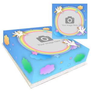 Unicorn Rainbow Personalised Photo Cake