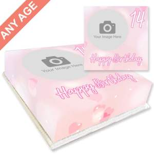 pink birthday cake with photo upload