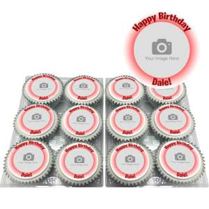 personalised cupcakes with red glow design