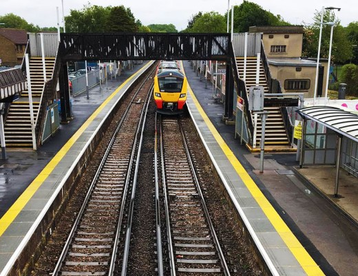 train at Egham Station. Late