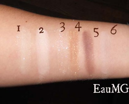 Swatches of Everyday Minerals Eye Shadow