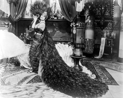 Theda Bara in a peacock gown