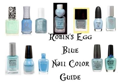 A sky blue nail color guide