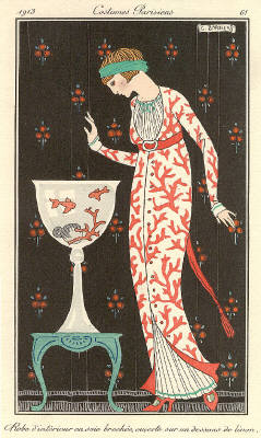 George Barbier Robe d'Interieur en Soie Brochee 1911