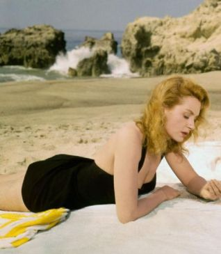 Deborah Kerr on the beach