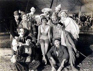 Patricia Ellis with clowns