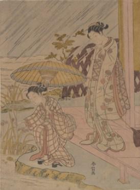 Harunobu Iris in Rain