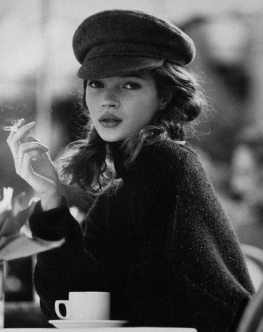Kate Moss with coffee