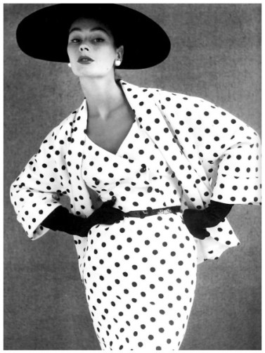 Anne Gunning in polka dot outfit