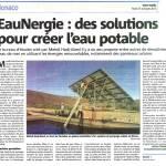 Nice-Matin Manaco du 15 octobre 2013 - Des solutions pour créer de l'eau potable