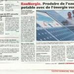 Journal Entreprises du 04 juillet 2008 EauNergie. Produire de l'eau potable avec de l'énergie verte