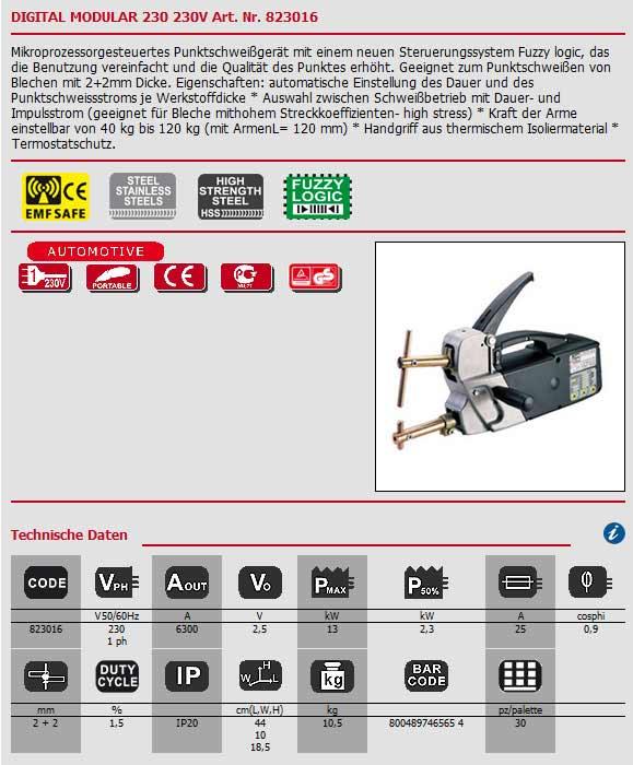 Punktschweißzange Digital Modular 230 von Telwin als Bild angezeigt