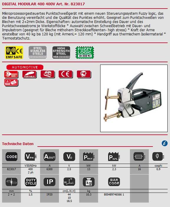 Punktschweißzange 400V Digital Modular 400 von Telwin als Bild angezeigt