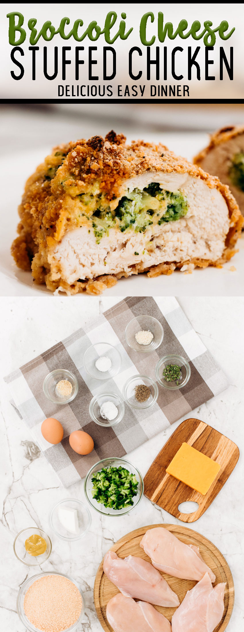 Broccoli cheese stuffed chicken breast and all the ingredients needed to make this easy dinner