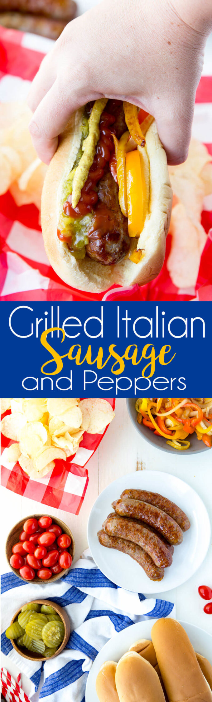 Grilled sausage and peppers and onions